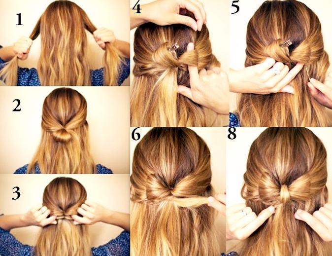 бантик из волос схема